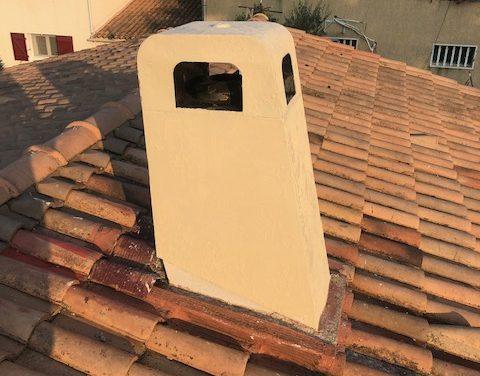 Réfection peinture sur cheminée
